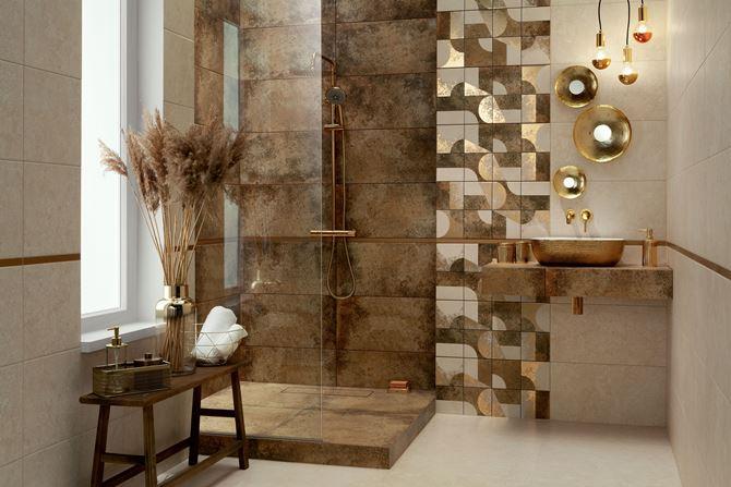 Beżowo-brązowa łazienka z dekorami Domino Credo
