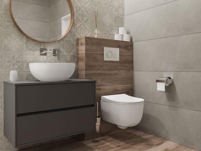 Aranżacja szarej łazienki z dekorami i drewnem