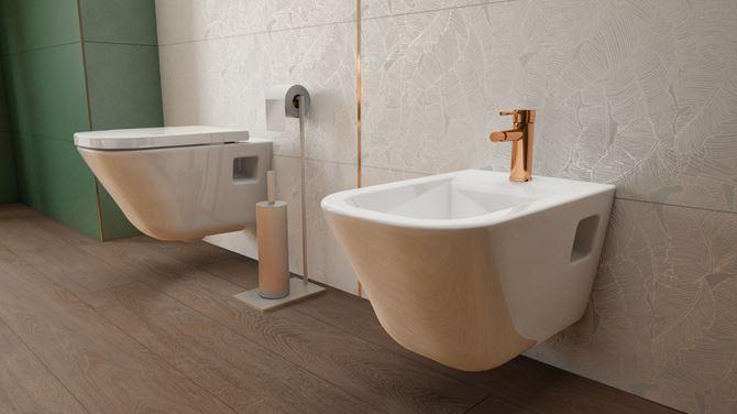 Podwieszana ceramika WC w stylowej łazience