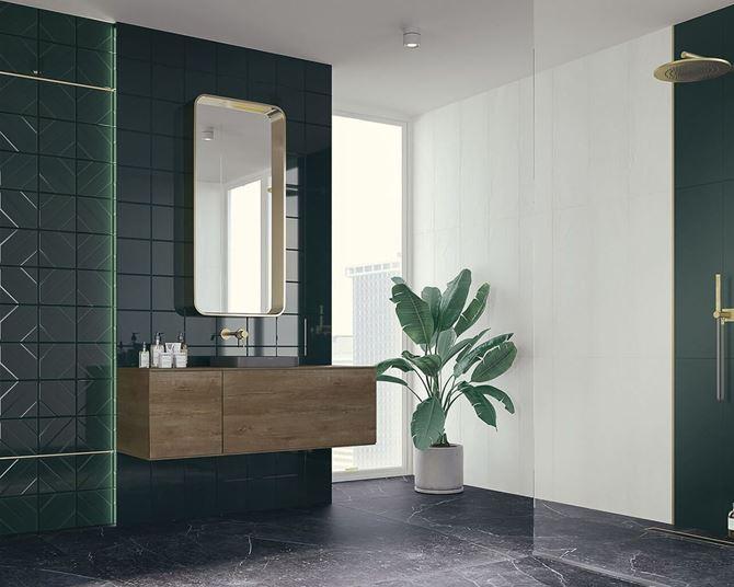 Zielona łazienka w stylu glamour