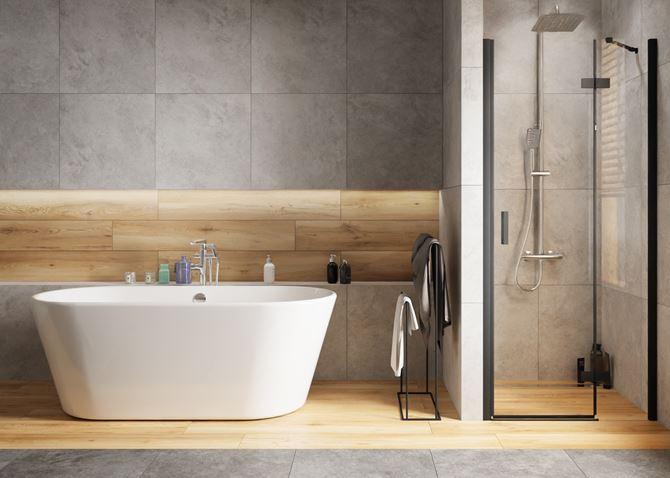 Drewno i szarości w nowoczesnej łazience