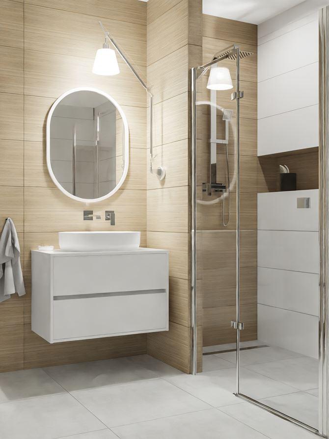 Ściana z płytami drewnopodobnymi w nowoczesnej łazience