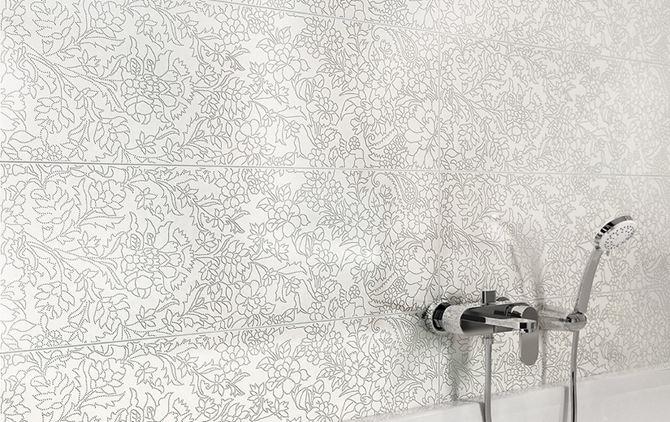 Detal płytek Opoczno White Inserto Flower OD334-012