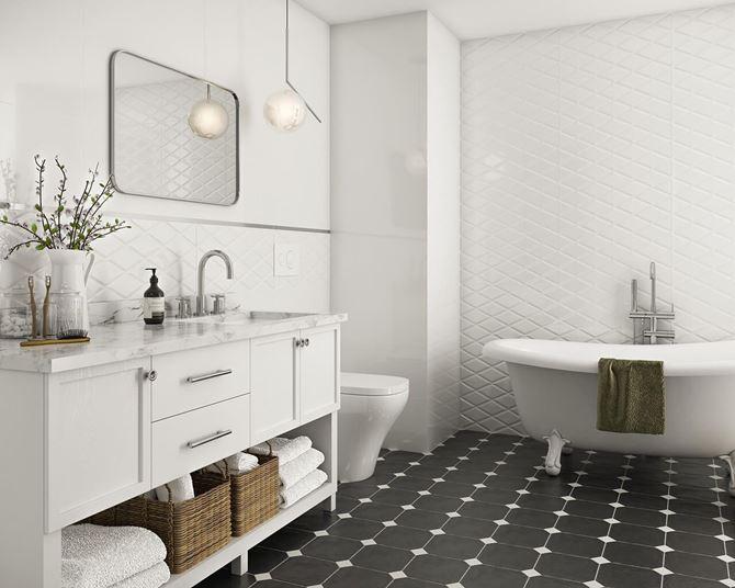 Aranżacja białej łazienki z kontrastową podłogą - Paradyż Moonlight
