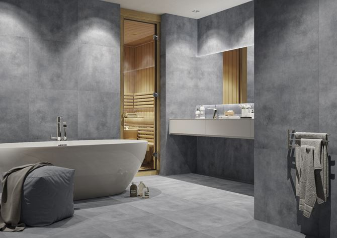 Luksusowy salon kąpielowy w stylu minimalistycznym