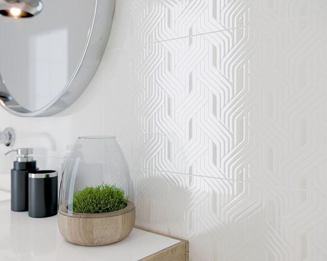 Biała płytka dekoracyjna z połyskiem Paradyż Synergy
