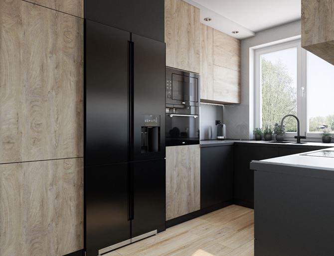 Aranżacja kuchni z nowoczesną zabudową wykończoną drewnem