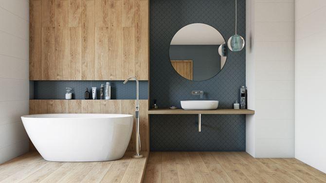 Łazienka w drewnie i niebieskiej mozaice