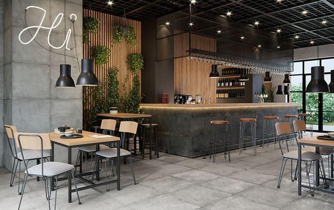 Wnętrze restauracji wykończone betonowymi płytami i drewnem
