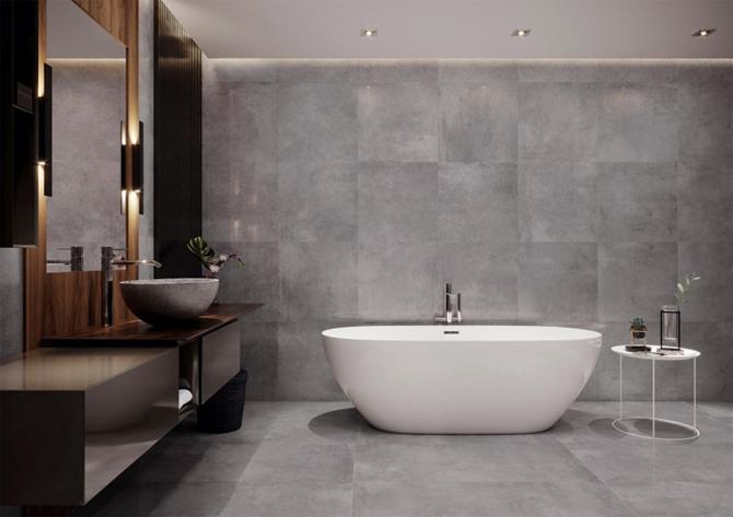 Minimalistyczna łazienka w szarym kamieniu