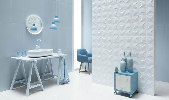 Błękitna łazienka z domieszką bieli Tubądzin Colour 2018