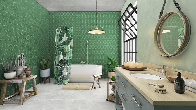 Zielona łazienka z płytkami heksagonalnymi