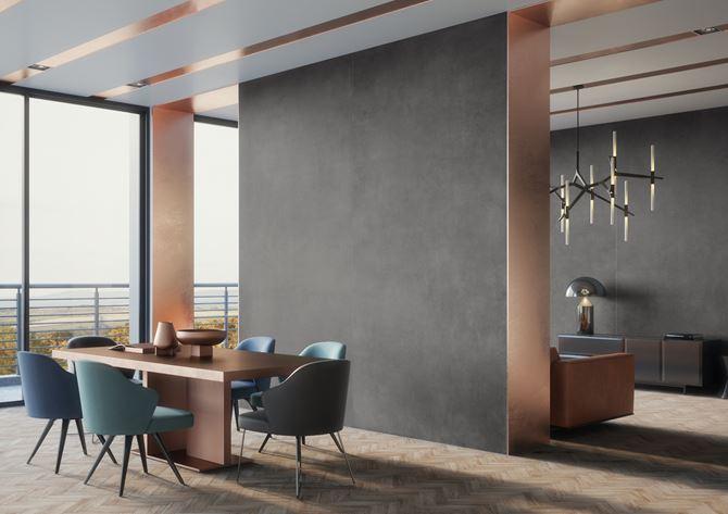 Nowoczesna minimalistyczna jadalnia przy salonie w kolekcji Cerrad Concrete Antracyt
