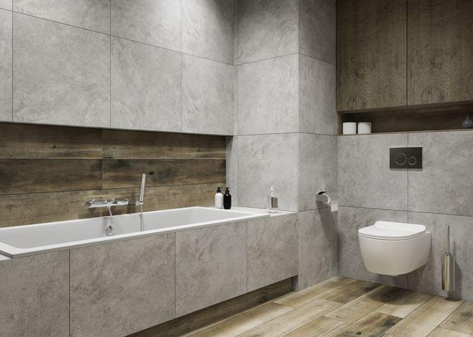 Łazienka w nowoczesnym stylu z kolekcją Azario Solan i Livid