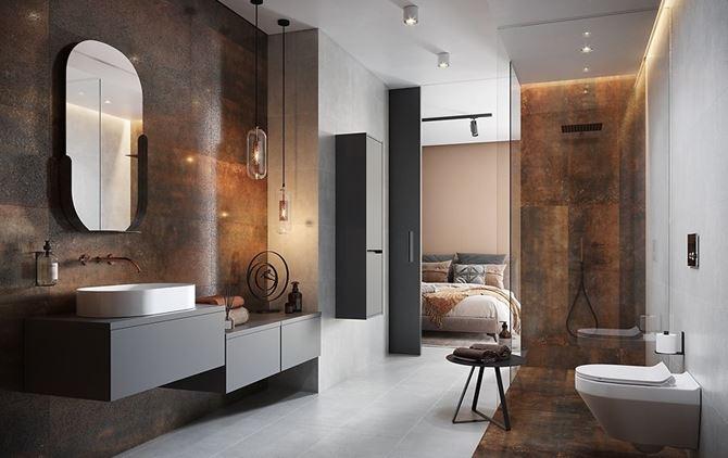 Miedziana łazienka Cersanit Dern