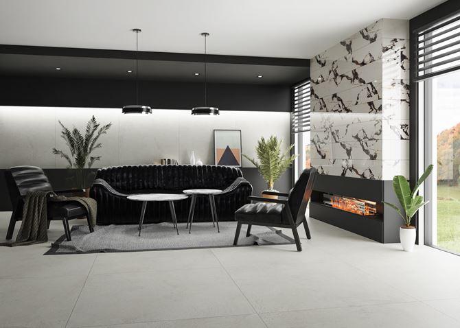 Nowoczesny salon z czarno-białym kamieniem na ścianie
