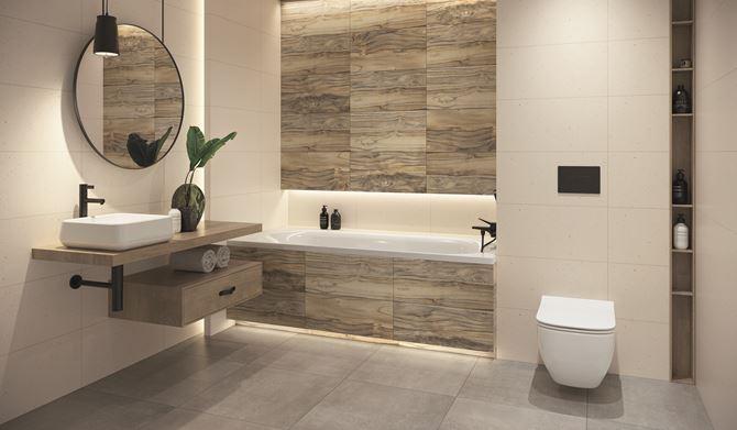Aranżacja jasnej łazienki z płytkami ze wzorem drewna