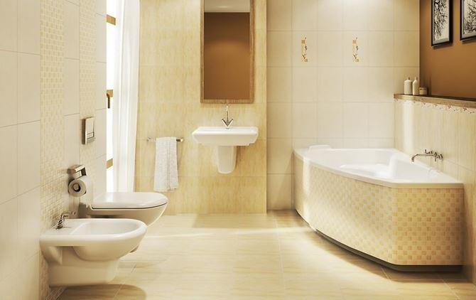 Beżowa łazienka w kolekcji Cersanit Madea