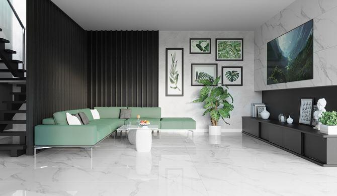 Nowoczesny salon z marmurowym wykończeniem