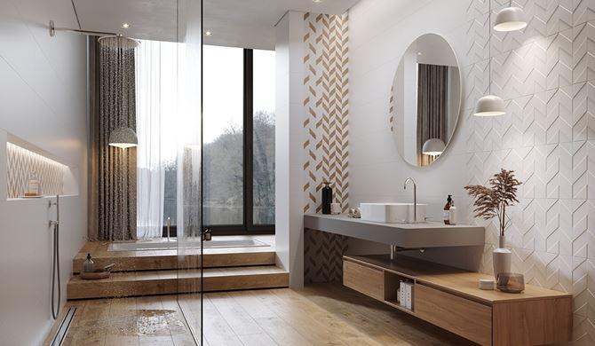 Łazienka w drewnie z płytkami strukturalnymi