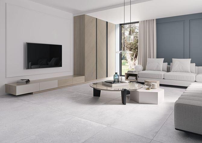 Nowoczesny salon z betonowym wykończeniem