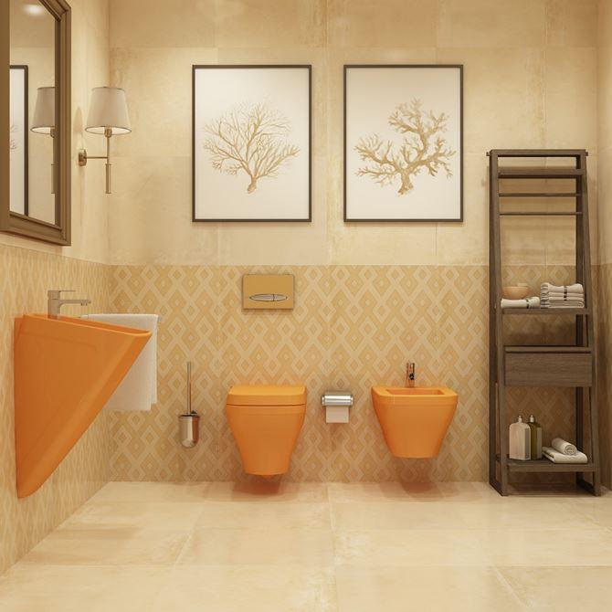 Pomarańczowa ceramika Bocchi Firenze z bezowej łazience