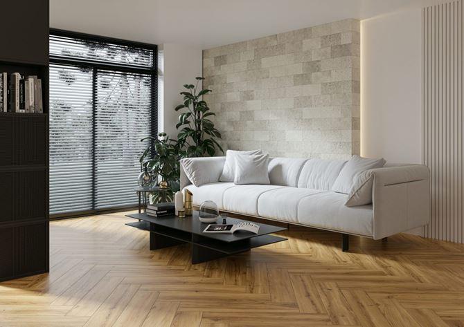 Minimalistyczny, jasny salon w drewnie i kamieniu