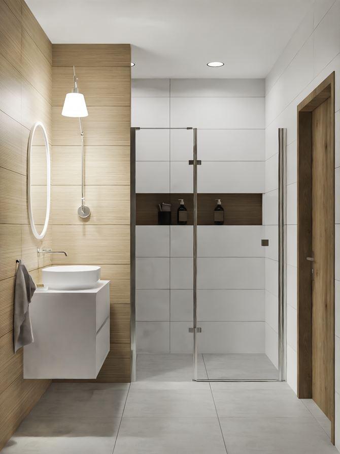 Nowoczesna łazienka z płytami o wyglądzie drewna