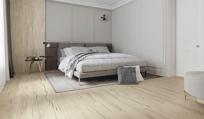 Skandynawska sypialnia w płytkach Craftland
