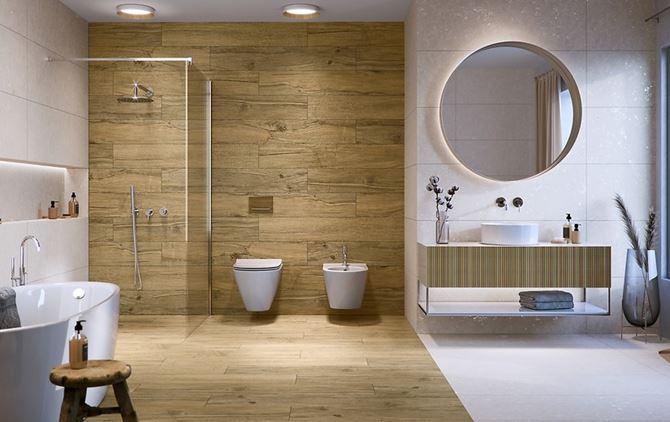 Łazienka w drewnie z dodatkiem białych płyt