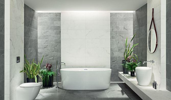 Aranżacja łazienki w kolekcji Tubądzin Organic Matt