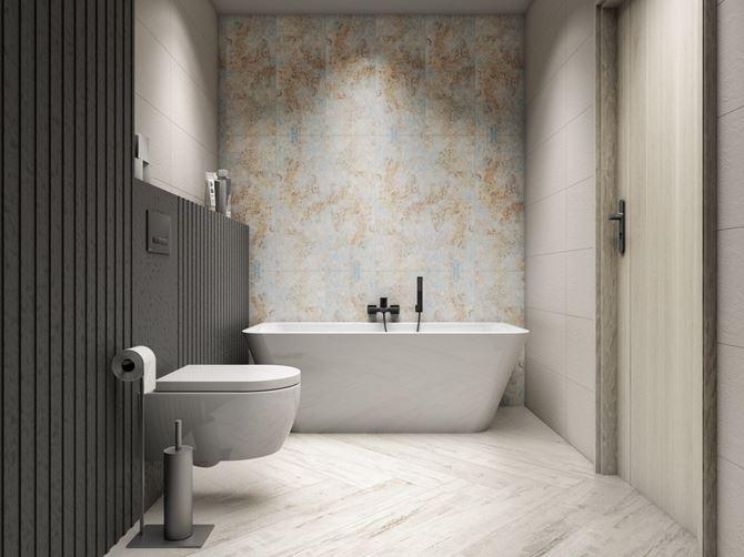Jasna łazienka z dekoracyjną ścianą