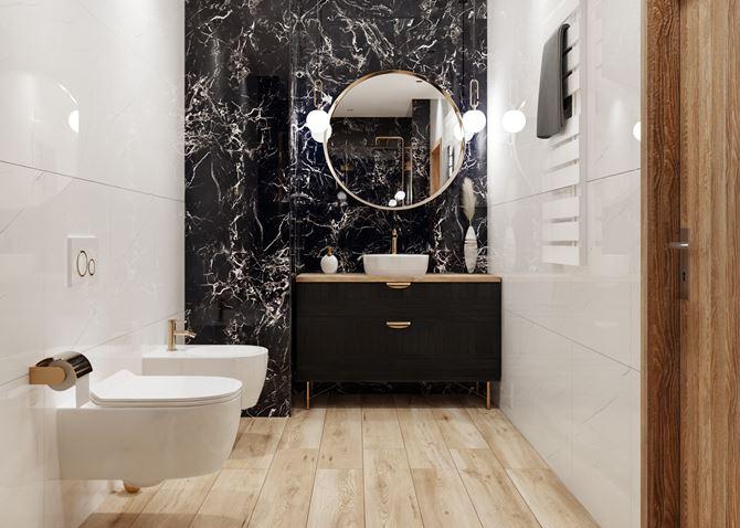 Aranżacja łazienki z kaflami Azario Stone Negro i Carrara