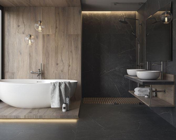 Aranżacja łazienki z elementami drewna - Paradyż Barro