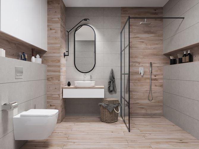 Aranżacja nowoczesnej łazienki z płytkami z rysunkiem drewna
