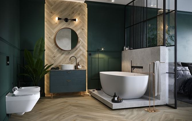 Zielona łazienka glamour z drewnianymi wykończeniami