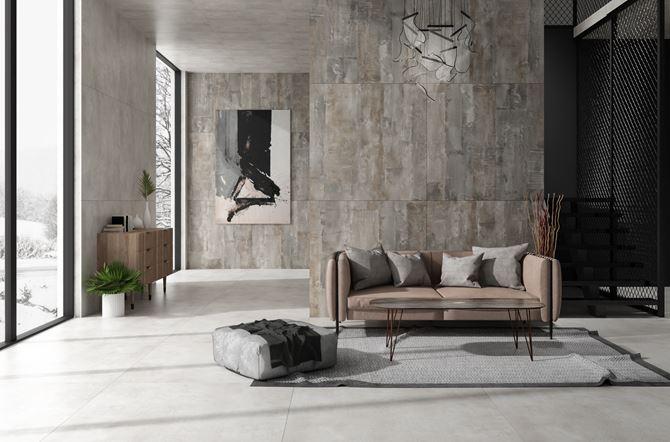 Przestronny salon wypoczynkowy w stylu industrialnym