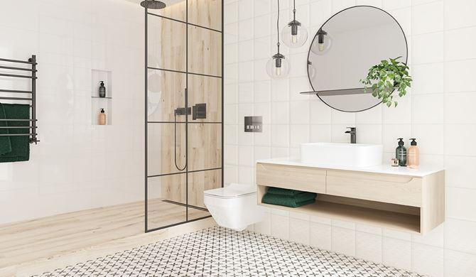 Skandynawska łazienka z patchworkową podłogą