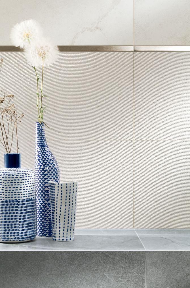 Tubądzin Organic matt 2 STR - Biały dekor ścienny