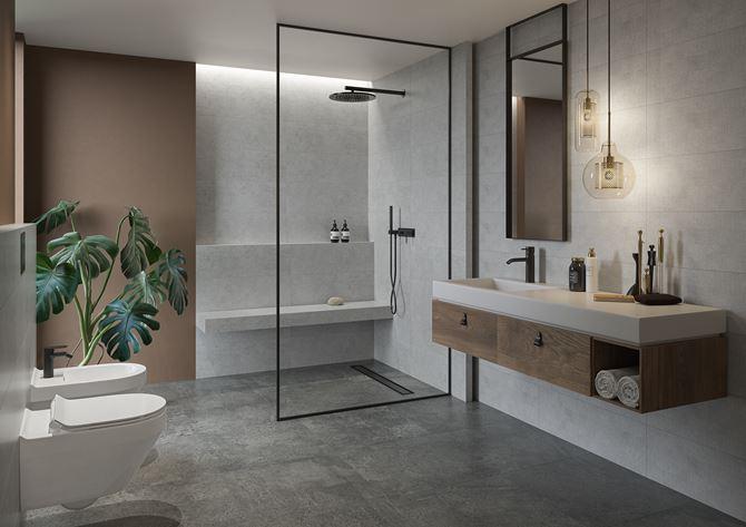 Nowoczesna, betonowa łazienka z kabiną walk-in