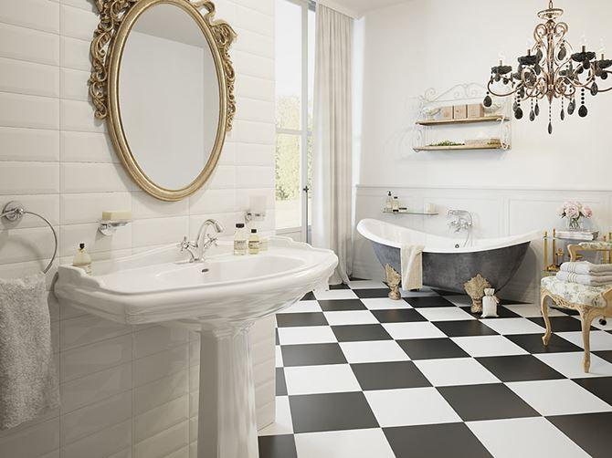 Łazienka w stylu glamour z akcentami retro
