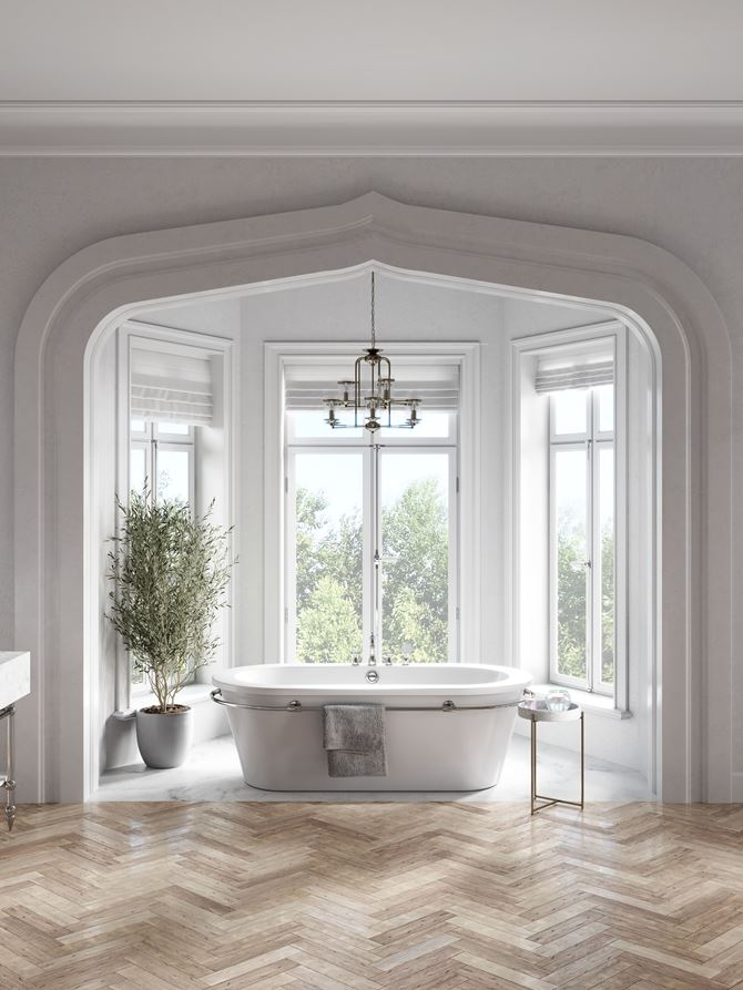 Jasna łazienka z wanną wolnostojącą