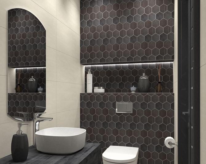 Dekoracyjna ściana z płytkami heksogonalnymi