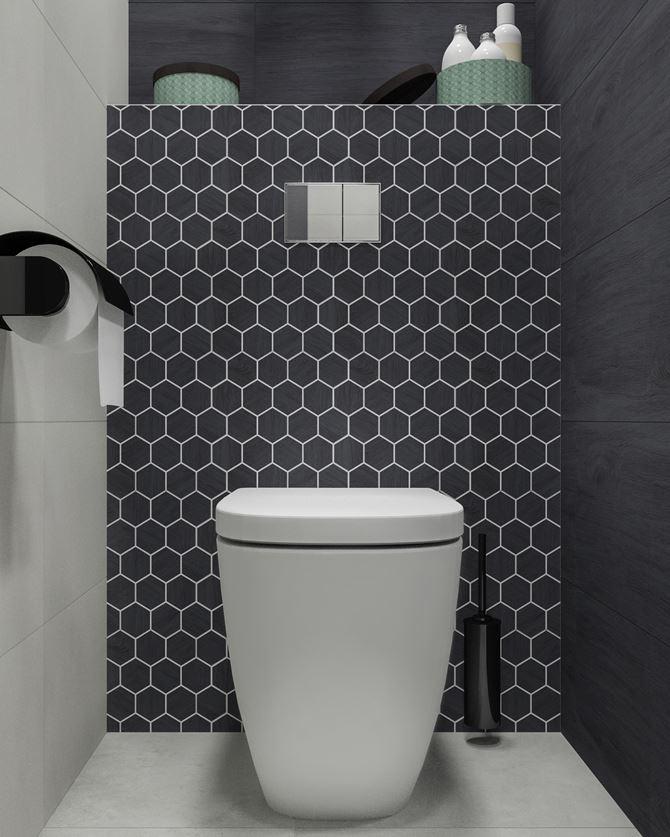 Strefa toaletowa w otoczeniu heksagonalnej ściany