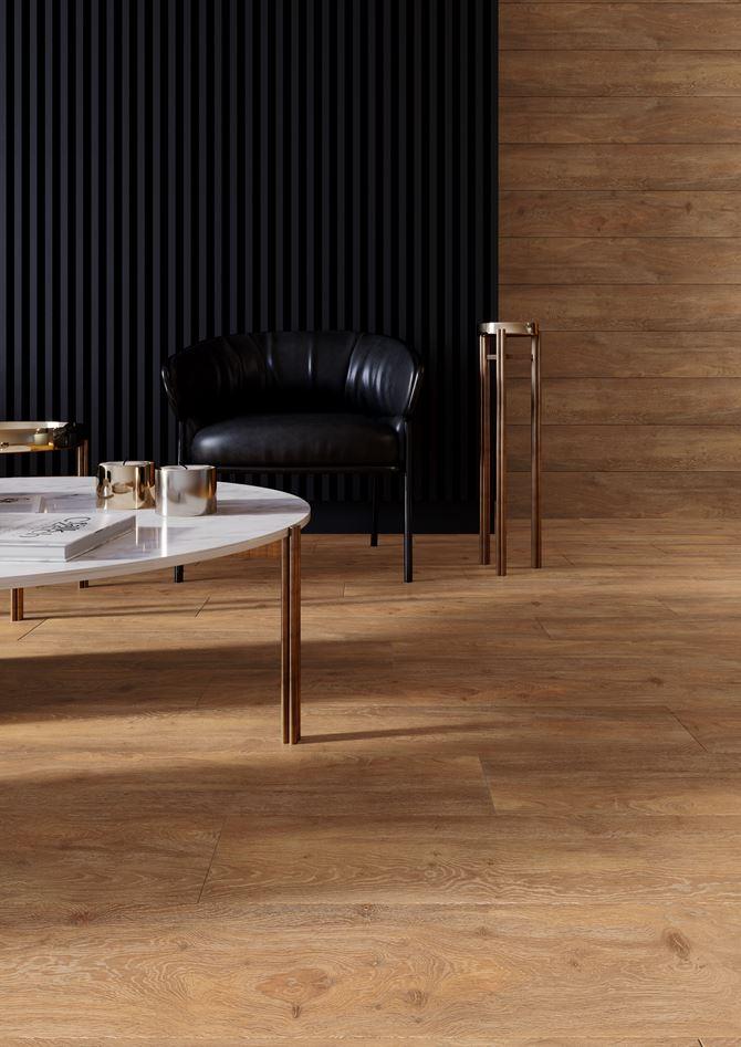 Wnętrze w luksusowym drewnie - kolekcja Libero sabbia