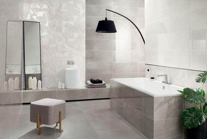 Szara, nowoczesna łazienka z białymi dekorami