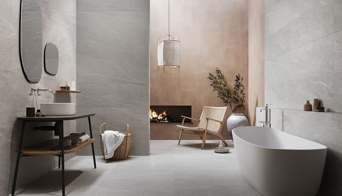 Aranżacja łazienki w kolekcji Opoczno Noisy Grey