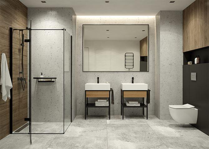 Aranżacja rodzinnej łazienki w stylu industrialnym