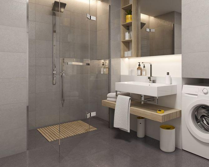Aranżacja nowoczesnej łazienki z grafitem i srebrem Paradyż Tero