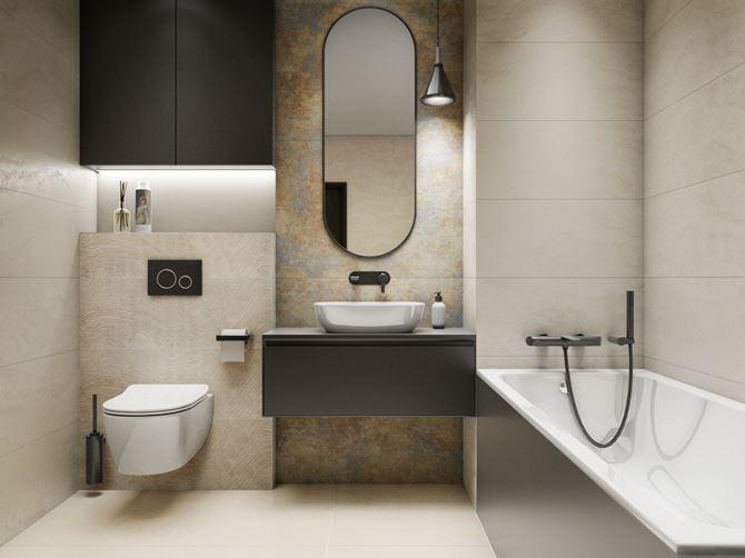 Nowoczesna łazienka w brązach i beżach
